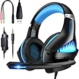 Comfortable PS4 Gaming Headset, Professional 3.5mm Headset with Rotatable, Noise Reduction Mic for PS4, Nintendo Switch,Xbox One, PC, Laptop, Mac,Smart Phone(Over-Ear And LED Lighting) (Black-blue)
