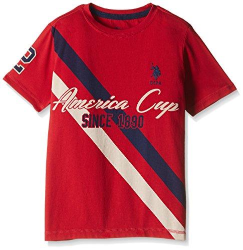 US Polo Association Boys' T-Shirt (TS6131_Medium Red_EXSHS)