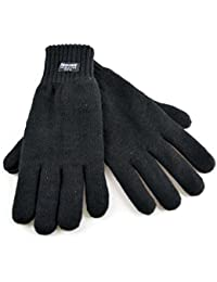 Gents 3M Thinsulate Lined Thick Quality Knitted Gloves GL130 - Black, Dark Grey