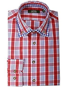 Moschen-Bayern Premium-Class Trachtenhemd Herren Karo Kariert Langarm Kurzarm Baumwolle Slim Fit - Rot Blau