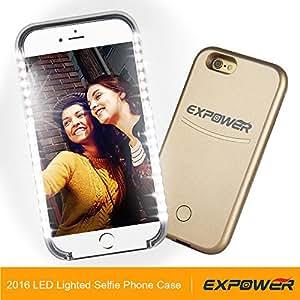 Expower Custodia Dimmerabile Led iPhone 6/6S/6 Plus/6S Plus Luce Lampeggiante per Selfie Notturna Cover Case Apple con 3 Modi Infiammanti Ottimo Accessorio per Facetime Party Feste Pub