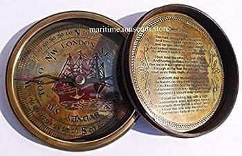 7,6Cm Steampunk T Cook Große Sammlerstück Messing Kompass Mit Leder Fall–Mit Robert Frost Gedicht Kompass. C-3016 2