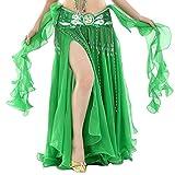 YuanDian Damen Chiffon Einfarbig Professionelle Tänzerin Bauchtanz Spliss Öffnungs Swing Long Rock Tanzkostüm Bauch Dance Kleid Dunkel Grün (Nicht inbegriffen ist Gürtel)