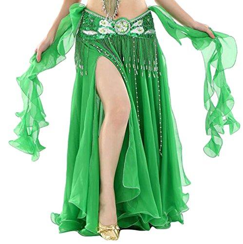 YuanDian Damen Chiffon Einfarbig Professionelle Tänzerin Bauchtanz Spliss Öffnungs Swing Long Rock Tanzkostüm Bauch Dance Kleid Dunkel Grün (Nicht inbegriffen ist (Kostüm Bauchtänzerin Grüne)