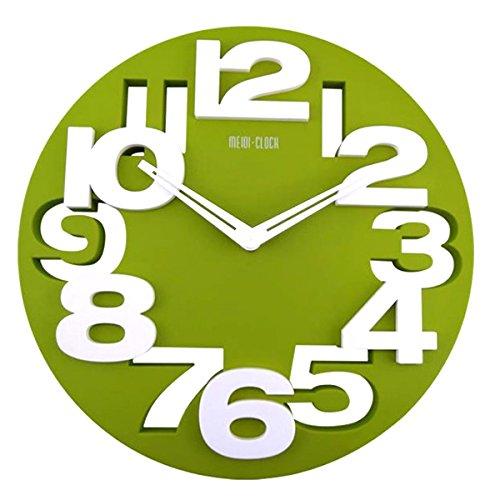 Tinksky Neuheit-3d großen Zahlen Rund Ausschnitt Wand Uhr Art Wanduhr Küche Home Office Decor (grün)