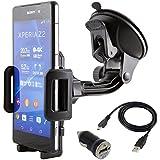 NessKa Premium Auto Handy Halterung Halter mit Ladefunktion / Micro USB Ladekabel + KFZ USB Adapter für Sony Xperia Z / Z1 / Z2 / Z3 / Z5 / Compact / Ultra E X E4g Aqua E3 E2 E1 M2 T2 SP ZL XA