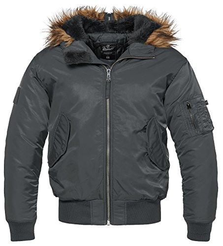 Brandit MA1 Sweathood Jacke schwarz Anthrazit - Pelz