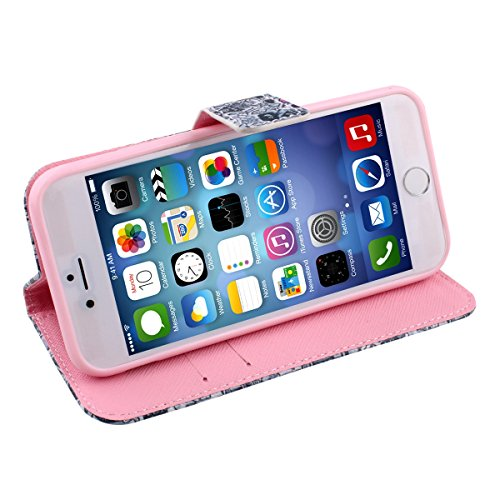 iPhone 6S Hülle,iPhone 6 Ledertasche,iPhone 6s Case - Felfy Schutz Hülle für iPhone 6S / 6 4.7 Zoll Pink Roses Muster Flip Ständer mit Card Holder Magnetic PU Leder Wallet Case Etui Holster Handytasch Zeichentrickfilm