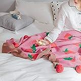 Upstudio Warme Schlafsofa Decke Baumwollstrick Baumwolldecke Niedliche kleine Kirschkugel Decke Nickerchen Decke Schal (Farbe: Pink, Größe: 110 * 150cm)