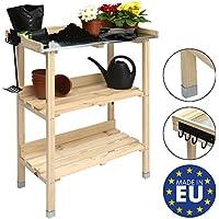 Moorland Table de jardinage en bois avec plateau en zinc - Floralux - 76x38x91cm - Crochets pratique pour les outils - Travail Jardin Table Fleurs