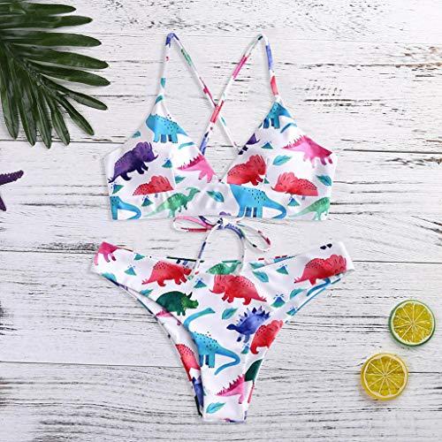 SHE.White Damen Dinosaurier Druck Bikini Set Zweiteilige Badeanzug Triangel Bandage Bralette Sexy Swimsuit Sommer Boho Swimsuit Strandkleidung - Glamour Sexy Beine
