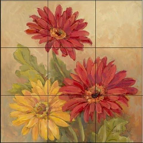 The Tile Mural Store - Gerber Daisies I - BMby Barbara Mock - Cuisine dosseret / salle de bains mur Carrelage mural