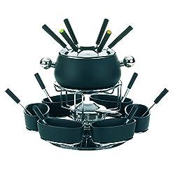 Keck & Lang GmbH 61203 Drehbares Fonduekarussell-Set, Fleischfondue, 22-teilig, Für 6 Personen, Emaille, Lugano, Schwarz