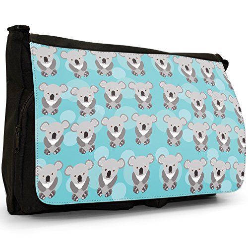 Tenero animale Unicorno Pattern–Borsa Tracolla Tela Nera Grande Scuola/Borsa Per Laptop Rows Grey Cuddly Koala Bears
