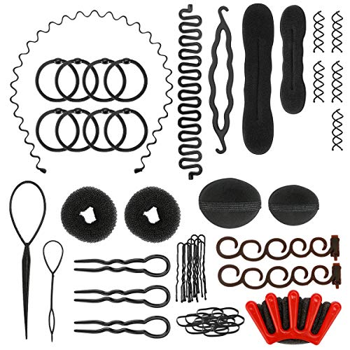 Haare Frisuren Set,E-More Haar Zubehör styling set,Hair Styling Accessories Kit Set Haar Styling Werkzeug, Mädchen Magic Haar Clip Styling Pads Schaum Hair Styling tools für DIY