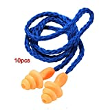 Earplugs - SODIAL(R) 10x earplugs with cord Anti-noise ear plug protection travel