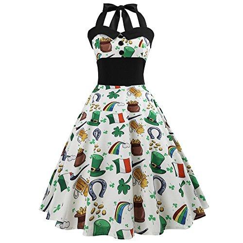 OverDose Damen Urlaub Karneval Schlank Stil Frauen Vintage Floral Bodycon Lässige Abendgesellschaft Prom Maskerade Tanz Unregelmäßigen Swing Dress Dirndl( X-Weiß1,EU-38/CN-L)