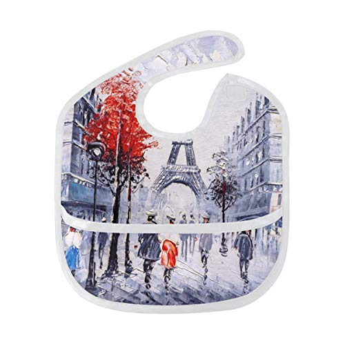 (DOSHINE Baby Bib Art France Paris Eiffel Tower Tree, Waterproof Cotton Unisex Boys Girls Toddler Bibs Bandanas Velcro)