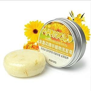 Shampoo Bar, Plant essential oil - Organic seaweed Soap Bar - Plant essence Shampoo & Conditioner 100% Natural Handmade aprox (Calendula)