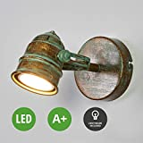 Lampenwelt LED Wandleuchte (Retro, Vintage, Antik) in Bronze aus Metall u.a. für Wohnzimmer & Esszimmer (1 flammig, GU10, A+, inkl. Leuchtmittel) | LED-Wandlampe, Wandlampe, Wohnzimmerlampe