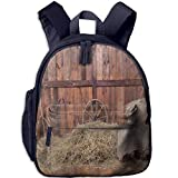 Lovely Schoolbag Rural Old Horse Stable Barn and Wood Planks Double Zipper Children Schoolbag Backpacks with Front Pockets for Teens