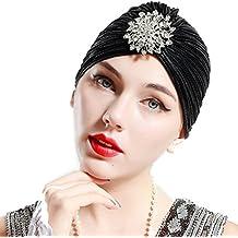 ArtiDeco Mujer Gorro Turbante con Cristal Vintage Pelo Turbante de Punto  1920s Disfraz de Estilo de 26050d2b58d