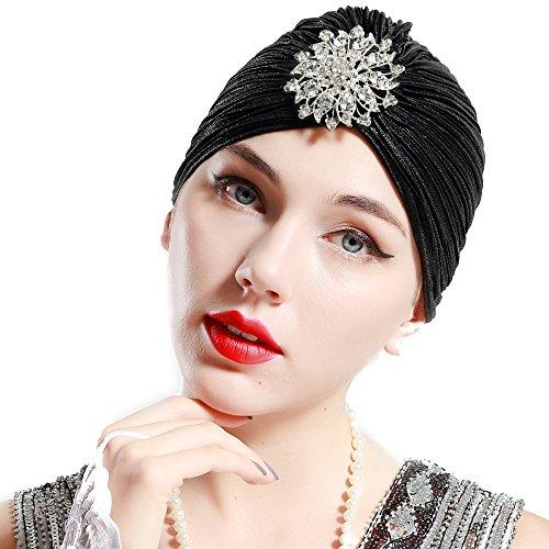 ArtiDeco Damen Turban Hut mit Kristall 1920s Retro Kopf Accessoires Abschlussbal