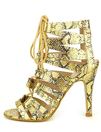 Cendriyon Sandale Dorée Reptile AKATAPA Chaussures Femme Doré