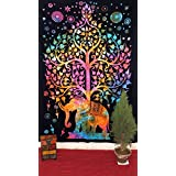 """Psychedelic Celestial elefante Árbol de Tapices, Good Luck Tie Dye elefante grifo indio Tapestry Tapestry Hippie Mandala Tapiz colgante de pared decoración para la pared Arte Dormitorio indio colcha Indian Pared Decoración Tapiz bohemio colgar en la pared 55x 85"""""""