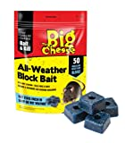 The Big Cheese All-Weather Block Bait (Moisture-Resistant Poison Bait, Kills Rodent Pests Such as Mice and Rats) - 50 Blocks