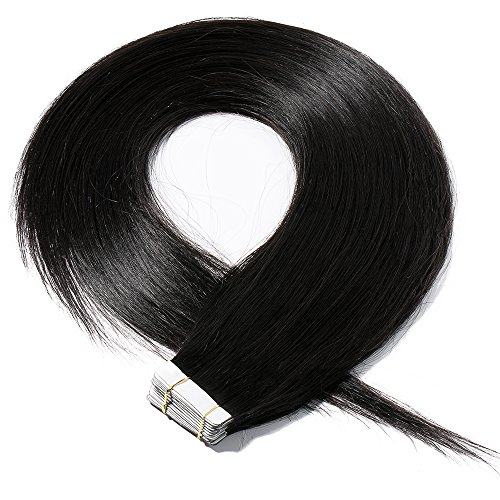 40-55cm extension biadesivo capelli veri estensioni adesive 20 fasce 50g/set 100% remy human hair - tape in hair extension allungamento (50cm #1 jet nero)