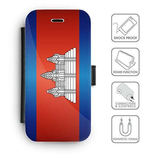 Delle cellule Phone Card Slot cassa del raccoglitore di cuoio // V00001219 Cambogia bandiera nazionale (Pronto Basamento Della Bandiera)