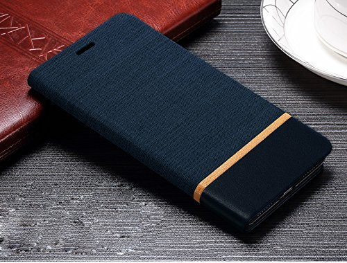 Febelo (TM) Professional Design Video Stand View Perfect Fitting Flip Cover Case for Lenovo Vibe K5 Note / Lenovo K5 Note 5.5 Inch - Navy Blue Color