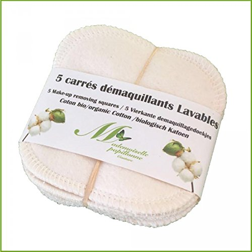 Mademoiselle Papillonne Couture Lote de 5 almohadillas desmaquillantes cuadradas, lavables, de algodón orgánico