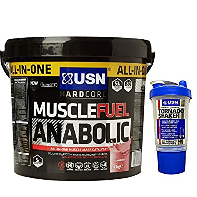 USN Muscle Fuel Anabolic 4 kg Vanilla Flavour, Ultimate All-In-One shake, Free USN Tornado Shaker by USN