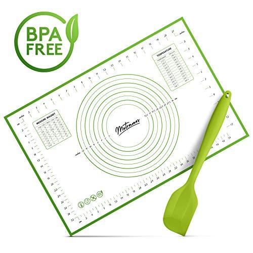 Metranos Premium Backmatte (60x40 cm) - Glasfaser/Silikon Backmatte - Langlebige Backunterlage - Perfekt für jeden Backvorgang - Wiederverwendbare Backfolie für jeden Haushalt - Teigschaber