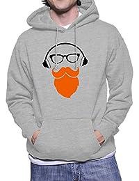 Hoodie para hombre con la impresión del Orange Beard Moustache Man With Headphones .