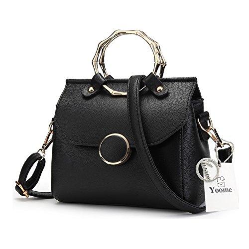 Sacchetti alla moda Yoome per donne Anello circolare Top Tote Handle Borse eleganti per fascino Casual Borse - Bianco Nero