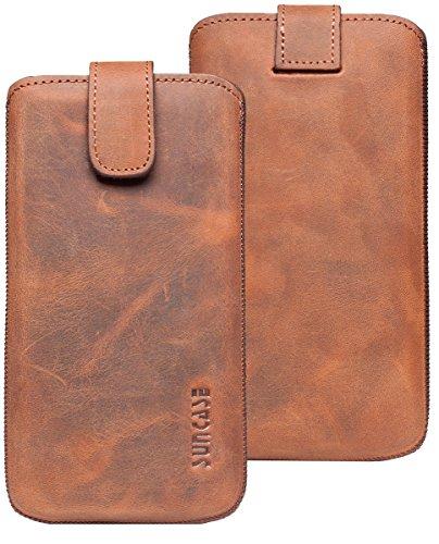 Suncase ECHT Ledertasche Leder Etui für iPhone 8 / iPhone 7 / iPhone 6s Tasche (mit Rückzugsfunktion und Magnetverschluss) rustik-tabak braun antik-coffee