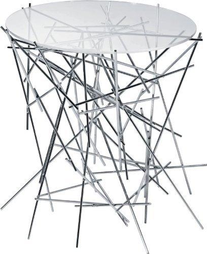 A di Alessi Blow Up Petite table avec base en acier chromé et plan en verre