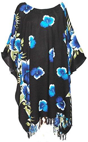 Kaftan Caftan Tunique motif Hawaienne Fleurs Taille Unique petite à grande Bleu / Noir