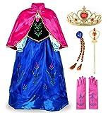 JerrisApparel Principessa Partito Costume Cosplay Vestire (120cm, Blu con Accessori)