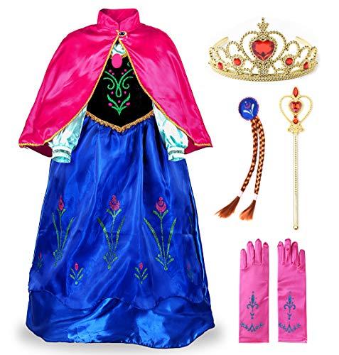 JerrisApparel Prinzessin Kostüm Karneval Verkleidung Party Kleid (110, Blau with Accessories)