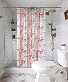 #6: E-Retailer Premium PVC Shower Curtain with 8 Hooks(Size : 4.5x7 Feet, Color : Pink)