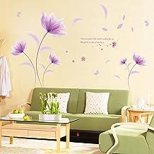 Wallpark Romantisch Wunderschnen Lila Blume Im Wind Abnehmbare Wandsticker Wandtattoo Wohnzimmer Schlafzimmer Haus Dekoration Klebstoff