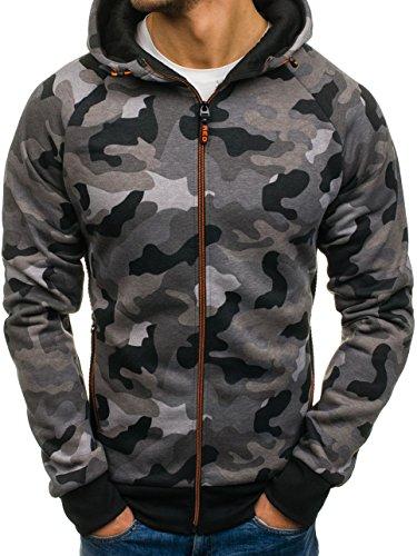 BOLF Herren Kapuzenpullover mit Reißverschluss Sweatshirt Military-Muster Camo Army RED Fireball W1379 Grau M [1A1] Logo Military Sweatshirt