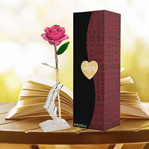 ofertas para el dia de la madre Rosa 24 K chapado en oro rosa flor con soporte transparente con caja de regalo mejor regalo para el día de San Valentín, el día de madre, aniversario, regalo de cumpleaños (Flor rosado con soporte)