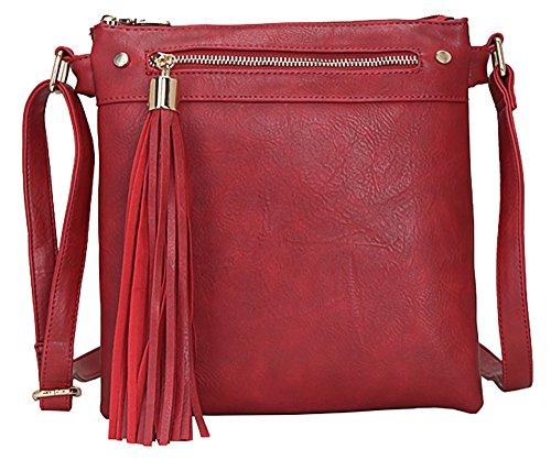 Big Handbag Shop Damen, mittelgroß, trendige Messengertasche, Schultertasche, Umhängetasche Design 1 - Red