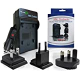 Battery Charger for Fuji NP45 / NP-45 / NP-45A / NP45A / BC-45 / BC-45A / BC-45W for Select Fujifilm Finepix Digital Camera (Models Stated Below) World Travel Plug Version - UK/USA/Europe+