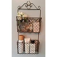 Rustic 2 Tier Wire Wall Storage Baskets Letter Rack Indoor/Garden Planter